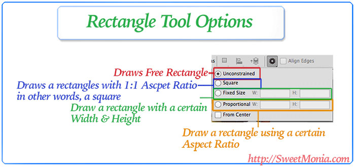 Settings of draw rectangle tool