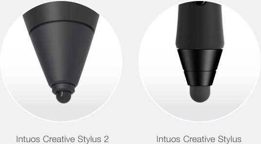 The nib of the Wacom Intuos Creative Stylus 2 compared the the older generation of the stylus