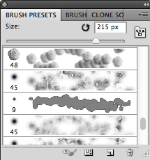 The brushes presets panel