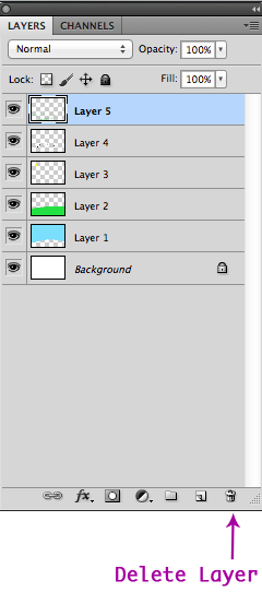 Delete Layer Button In The Layers Panel
