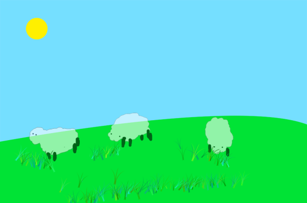 The Sheep Turned Into Ghosts After I changed The Opacity Of The Layer That Contains Them