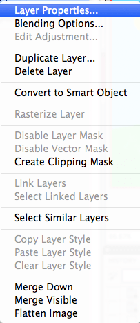 Layer Properties In The Drop Down Menu