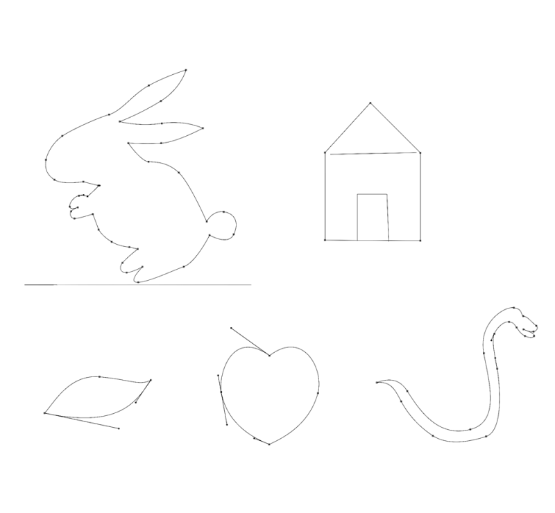 Various shapes that has been created using Photoshop pen tool
