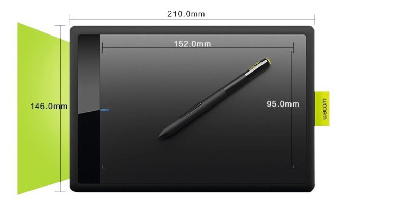 The dimensions of active area & the whole tablet of Wacom Bamboo CTL471
