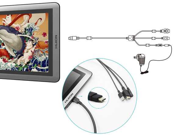 Huion-KAMVAS-GT-156HDV2-3-in-1-cable