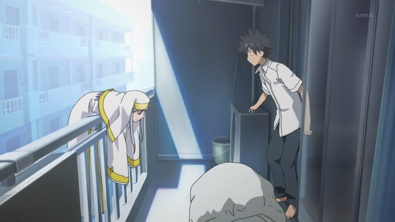 Index hanging on Touma's balcony at the beginning of the anime